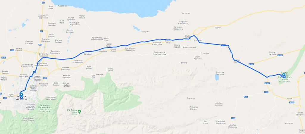 Almaty to Charyn Canyon Map