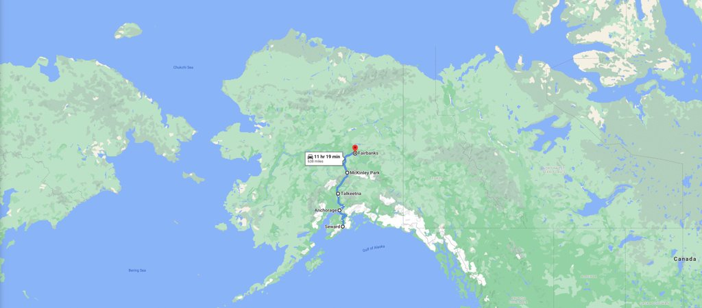 Anchorage to Fairbanks Map, Anchorage to Fairbanks road trip map, Alaska road trip map
