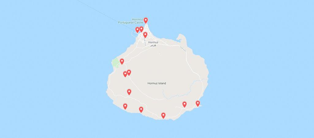 Hormuz Island Map, Hormuz, Hormuz Island, Iran