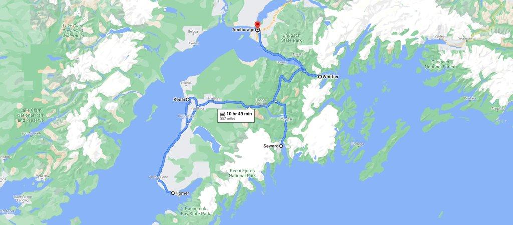 Kenai Peninsula Road Trip Map
