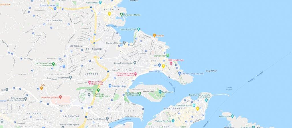 Malta Restaurants Map