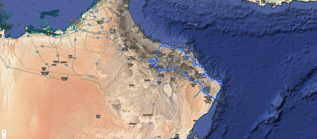 1 Week Oman Road Trip Map