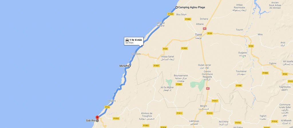Aglou Playa to Sidi Ifni Map