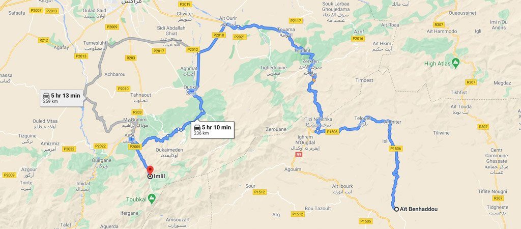 Ait Ben Haddou to Imlil Map
