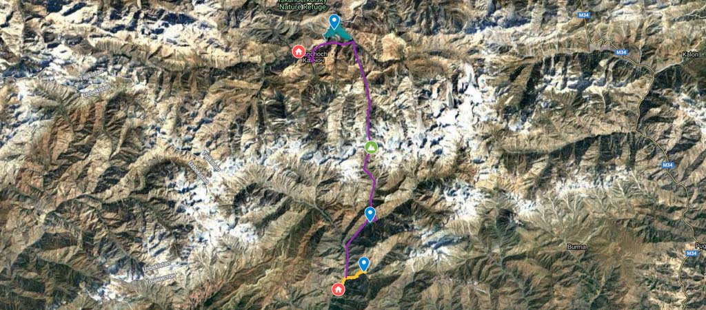 Angisht Pass Hike Map