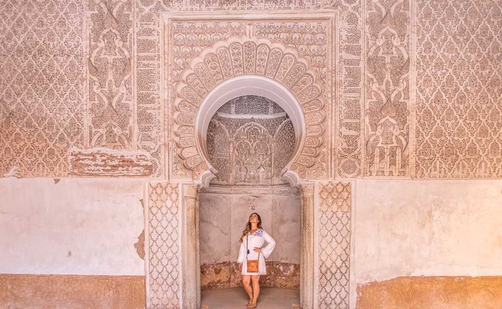 female travel Marrakech, Marrakech, Morocco, Ben Youssef, Ben Youssef Madrasa, Madrasa, Africa, woman Ben Youssef, woman madrasa,