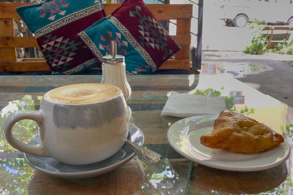 Cappuccino and sambusa at Cafe Luni, Khorog, Tajikistan