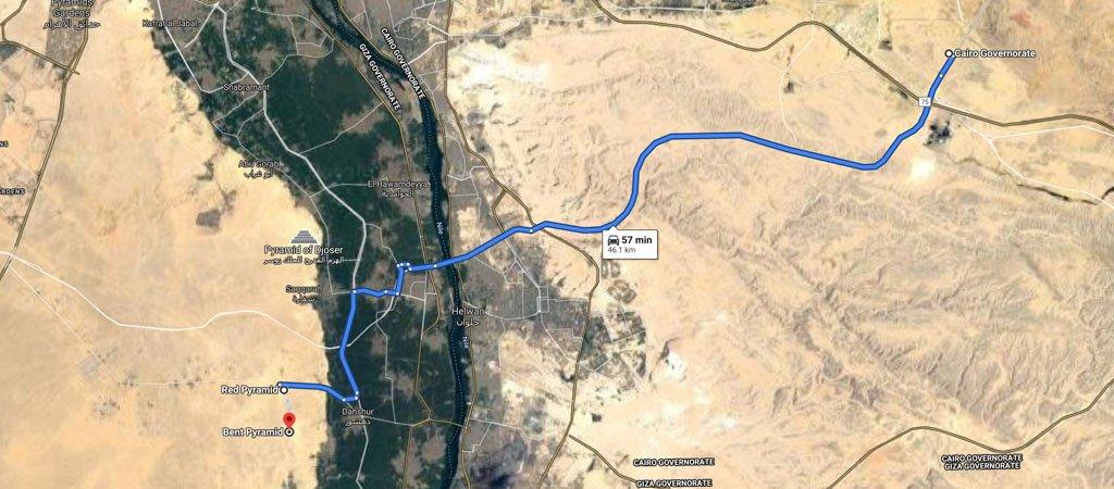 Dahshur Pyramids Map