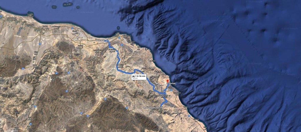 Muscat to Quriyat Map, 1 Week Oman Road Trip Map