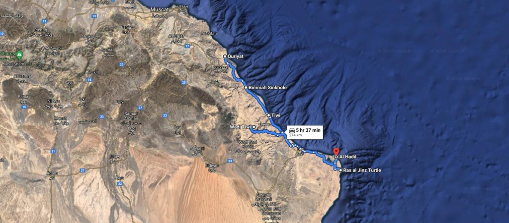 Quriyat to Ras al Hadd map, 1 Week Oman Road Trip Map