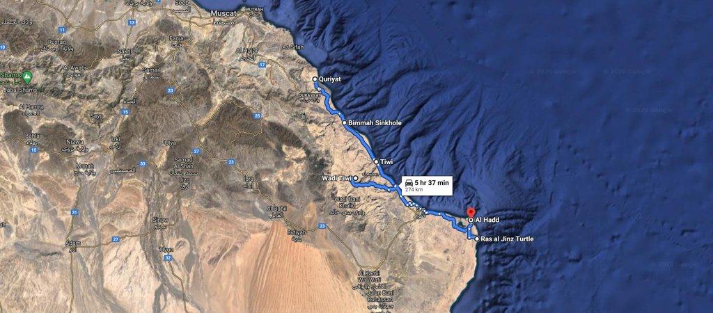 Quriyat to Ras al Hadd map, 1 Week Oman Road Trip Map
