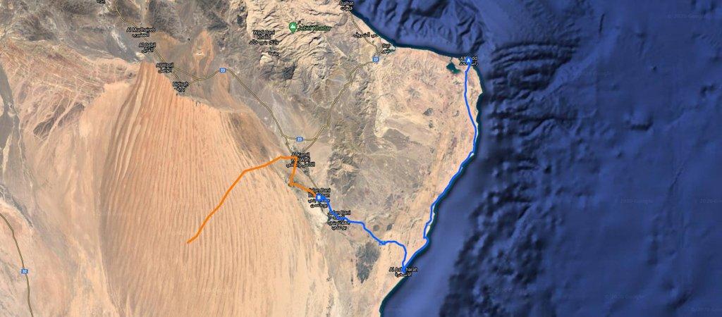 Ras al Hadd to Wahiba Map, 1 Week Oman Road Trip Map