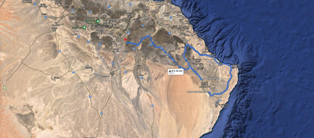 Wahiba to Izki Map, 1 Week Oman Road Trip Map