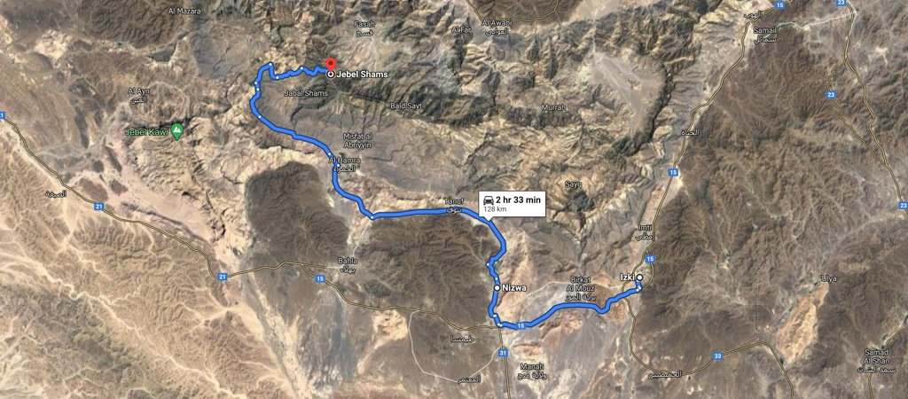 Izki to Jebel Shams map, 1 Week Oman Road Trip Map