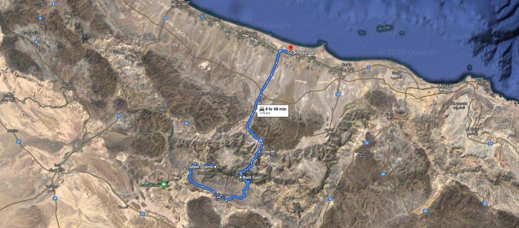 Jebel Shams to al Musnaah map, 1 Week Oman Road Trip Map