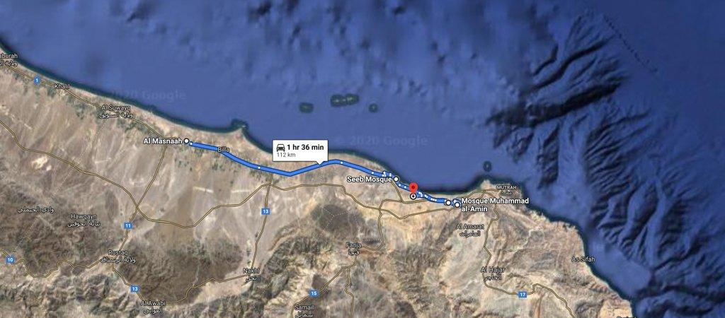 al Musnaah to Muscat map, 1 Week Oman Road Trip Map