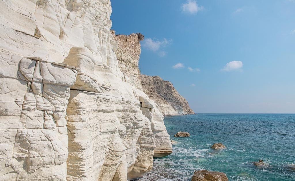 Paphos, Cyprus, gypsum, gypsum cliffs, white cliffs
