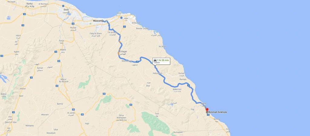 Muscat to Bimmah Sinkhole Map