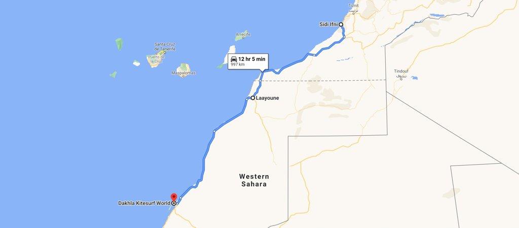 Sidi Ifni to Dakhla Map, Western Sahara Map