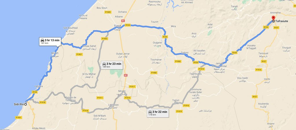 Sidi Ifni to Tafraoute Map