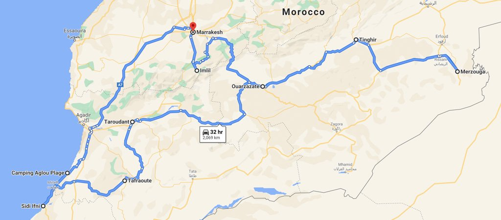 South Morocco Road Trip Map