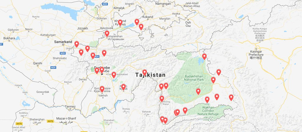 Tajikistan Itinerary Map