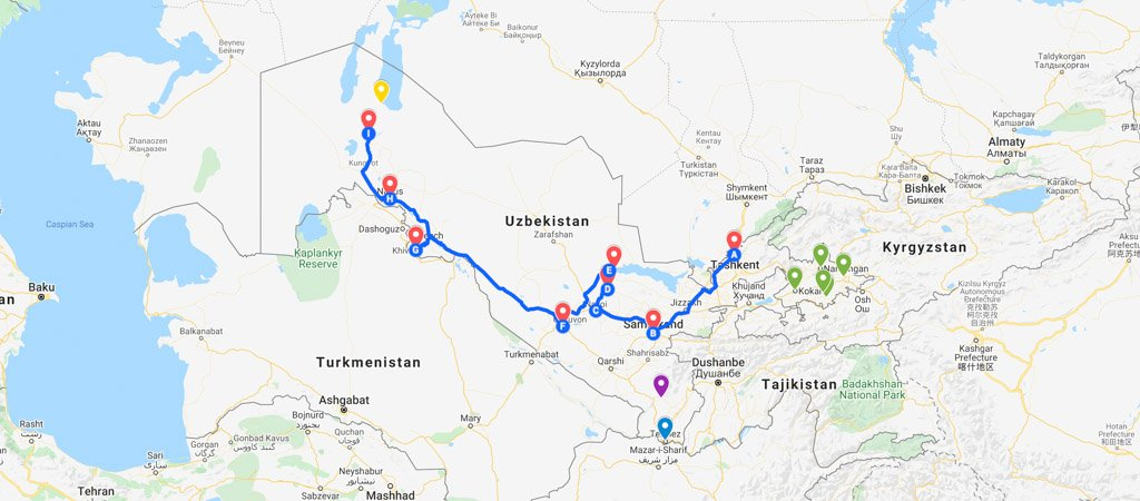 Uzbekistan Map