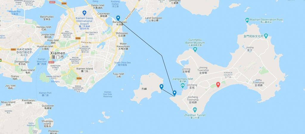 Xiamen-Kinmen Ferry Map