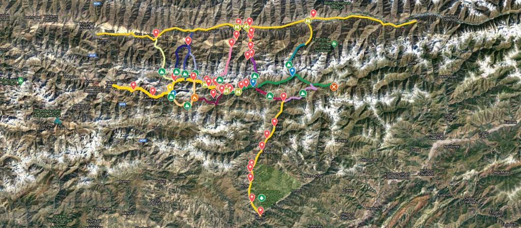 Yagnob Valley with Romit and Zerafshan Valleys Map