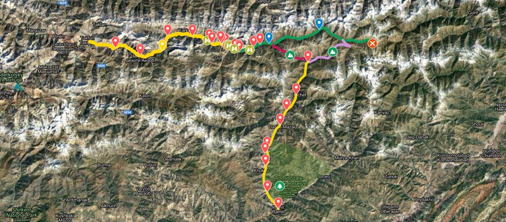Yagnob and Romit Valleys Map