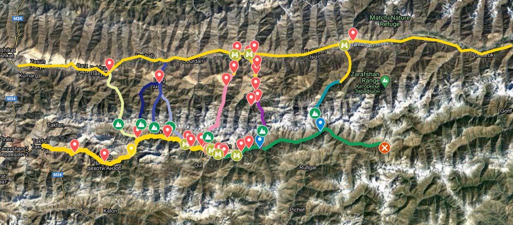 Yagnob and Zerafshan Valleys Map