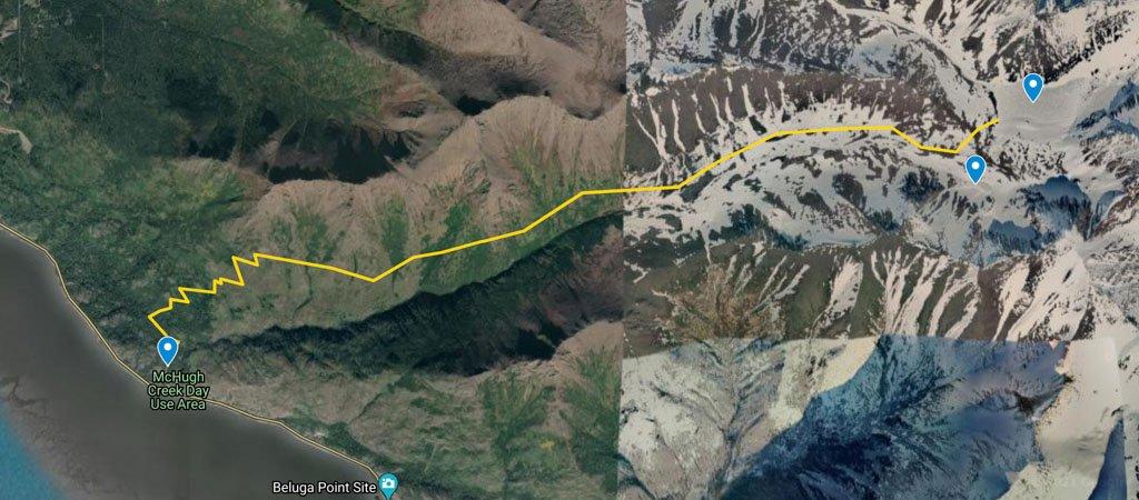 McHugh Creek to Rabbit Lakes Hike Map
