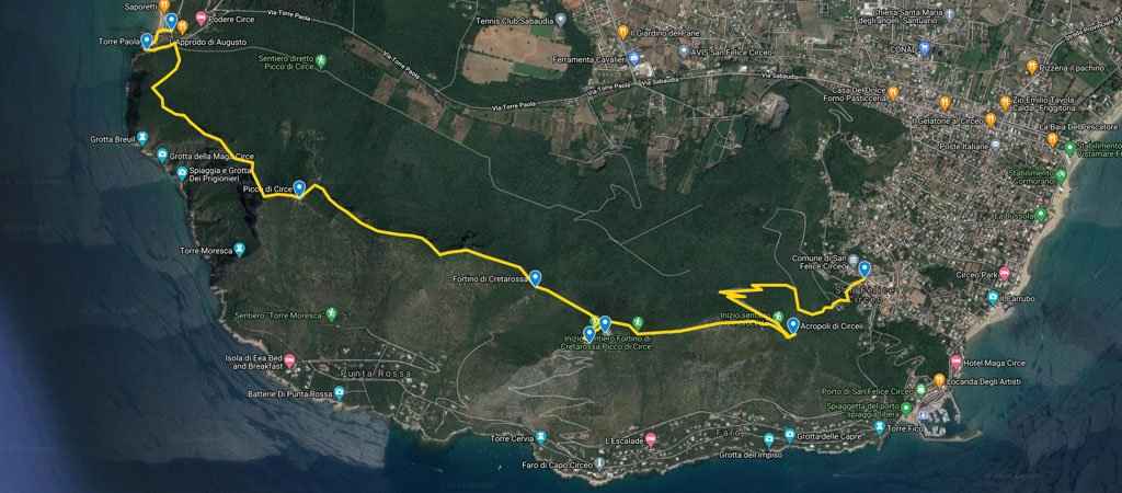 Mount Circeo Hike Map