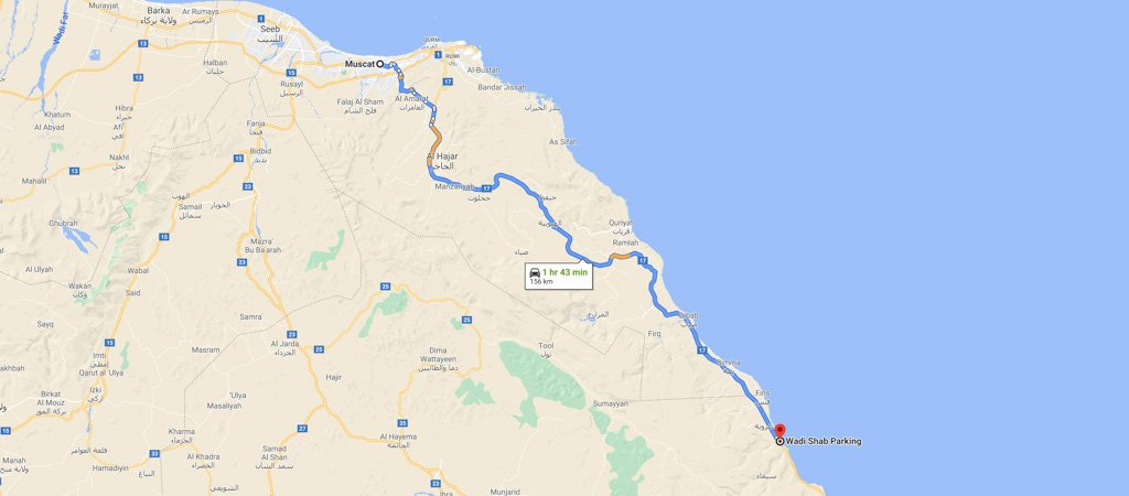 Muscat to Wadi Shab Map