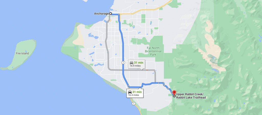 Rabbit Lakes Trailhead Map