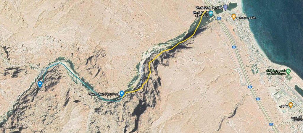 Wadi Shab Hike Map