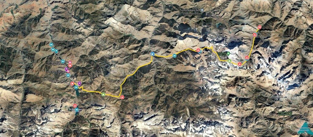 Alovaddin to Haft Kul via Chimtarga Pass Map