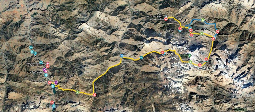 Artuch to Haft Kul via Chimtarga Pass Map