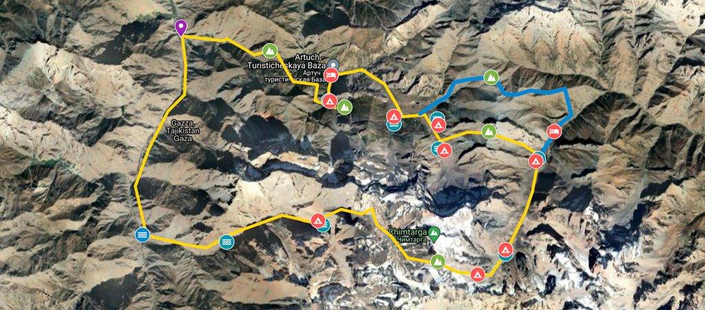 Chimtarga-Lakes Circuit Map