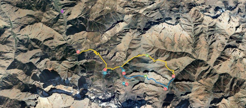 Fann Mountains Lakes One Way Map