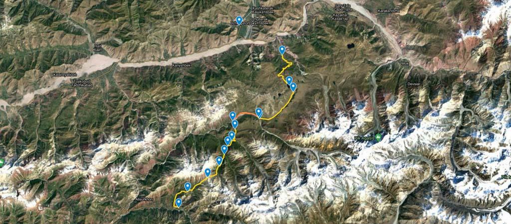 Gardan i Kaftar Trek Map