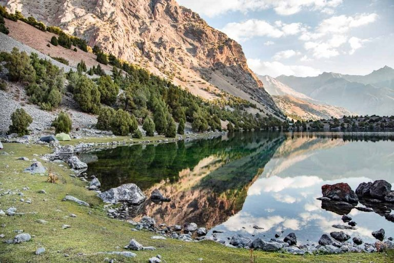 Lake Alovaddin, Lake Alauddin, Fann Mountains, Tajikistan, Central Asia, Sughd, Pamir Altai,