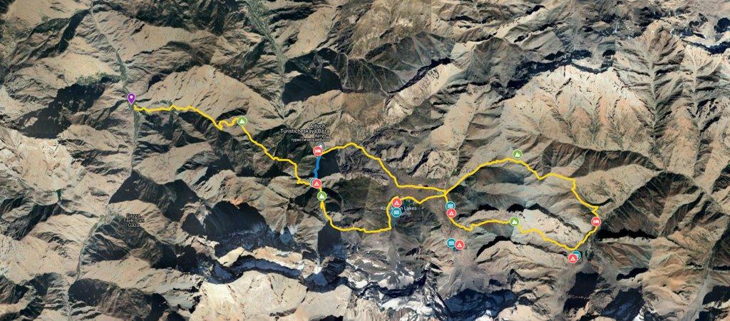 Lakes Loop via Chukurak Lakes Map
