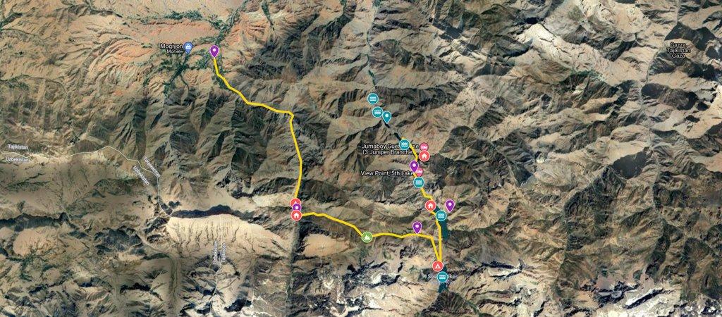 Mogiyon to Haft Kul Map