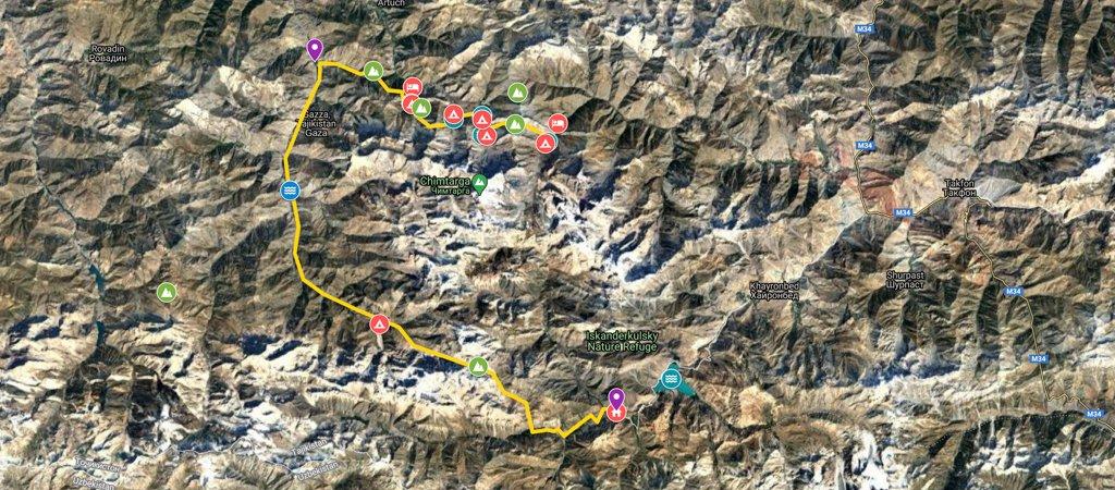 North-South Traverse- Alovaddin to Iskanderkul Via Guitan & Dukdon Passes Map