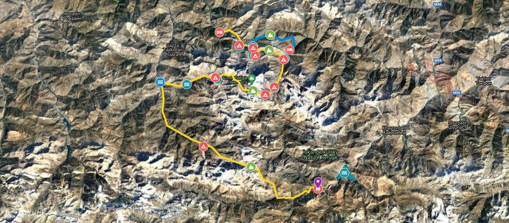 North-South Traverse- Artuch to Iskanderkul Via Chimtarga & Dukdon Passes Map