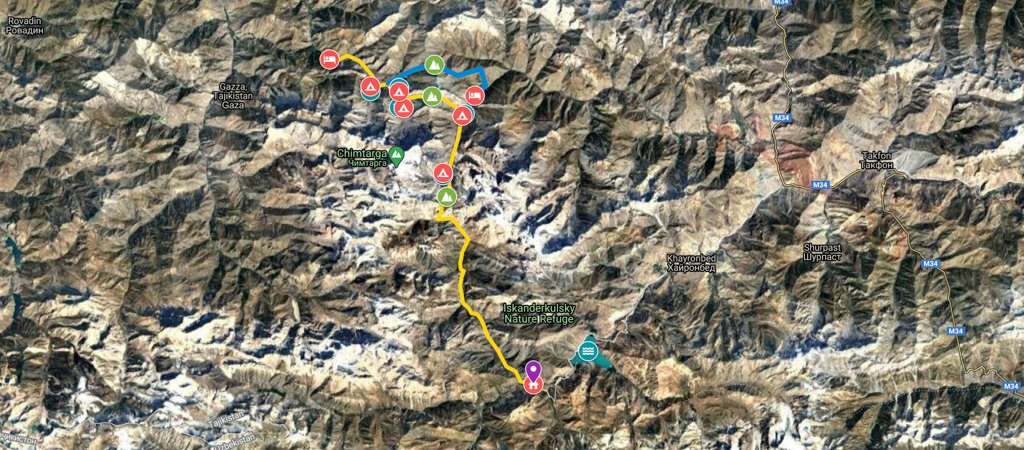 North-South Traverse Artuch to Iskanderkul Via Kaznok Pass Map