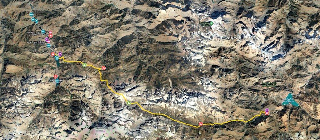 West-East Traverse from Haft Kul via Sarymat Pass Map