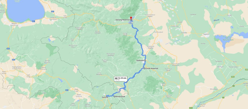 Armenia & Nagorno-Karabakh Road Trip Day 2 Map