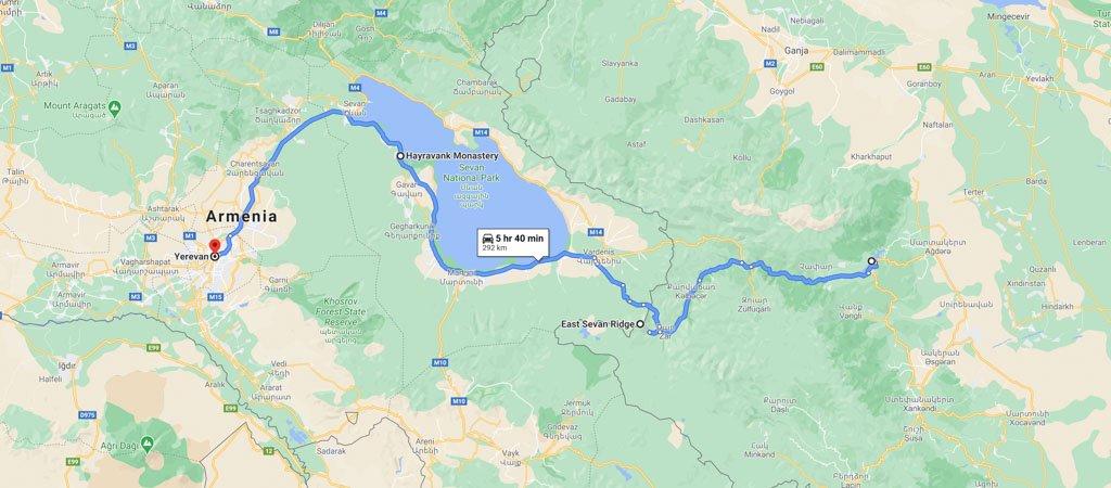 Armenia & Nagorno-Karabakh Road Trip Day 3 Map